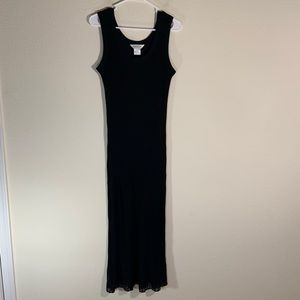 Exclusively Misook Semi Sheer Maxi Dress Ribbed L